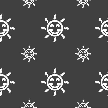 gelukkige zon teken pictogram. Naadloos patroon op een grijze achtergrond. vector illustratie