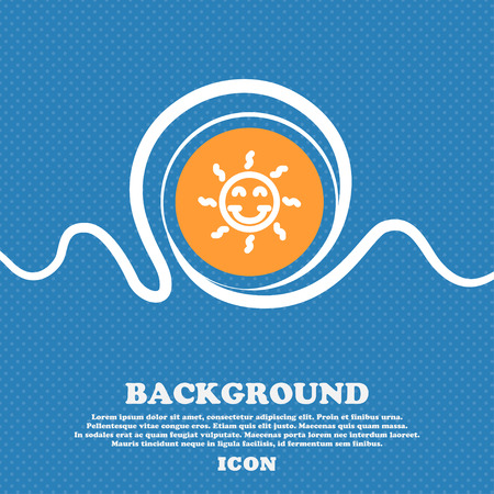 happy sun icon sign. Blue and white abstract background flecked with space for text and your design. Vector illustration
