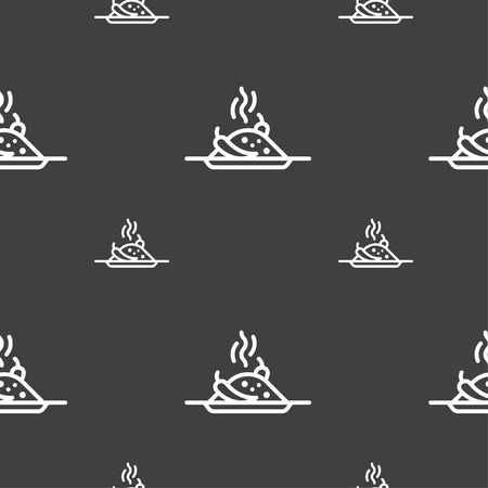 hot plate: Plate with red hot chili pepper and burning porrige icon sign. Seamless pattern on a gray background. Vector illustration Illustration