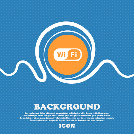 Wireless Network icon sign. Blue and white abstract background flecked with space for text and your design. Vector illustration