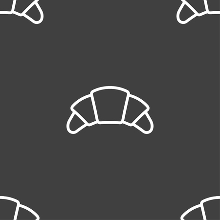 concave: croissant bread icon sign. Seamless pattern on a gray background. Vector illustration