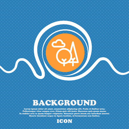 forest icon sign. Blue and white abstract background flecked with space for text and your design. Vector illustration