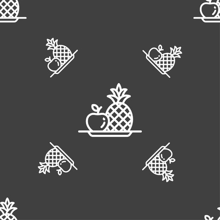 fruits set with pineapple apple icon sign. Seamless pattern on a gray background. Vector illustration