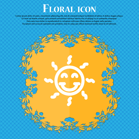 happy sun icon sign. Floral flat design on a blue abstract background with place for your text. Vector illustration Banco de Imagens - 68255404