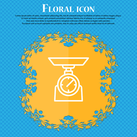 Scales Icon sign. Floral flat design on a blue abstract background with place for your text. Vector illustration