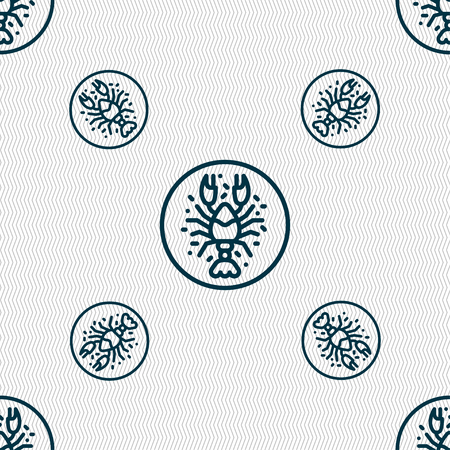 delicacy: crayfish icon sign. Seamless pattern with geometric texture. Vector illustration Illustration