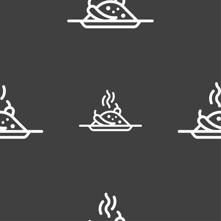 tablespoon: Plate with red hot chili pepper and burning porrige icon sign. Seamless pattern on a gray background. Vector illustration Illustration