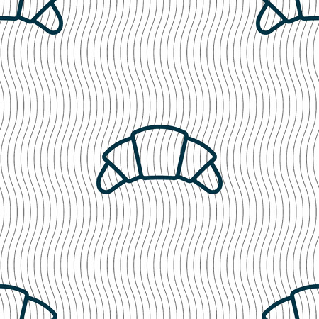 www tasty: croissant bread icon sign. Seamless pattern with geometric texture. Vector illustration