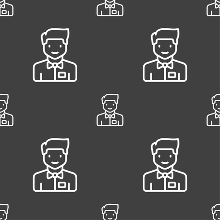 wench: Waiter icon sign. Seamless pattern on a gray background. Vector illustration