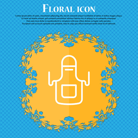 Kitchen apron icon sign. Floral flat design on a blue abstract background with place for your text. Vector illustration