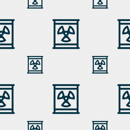 plutonium: Radiation icon sign. Seamless pattern with geometric texture. Vector illustration Illustration