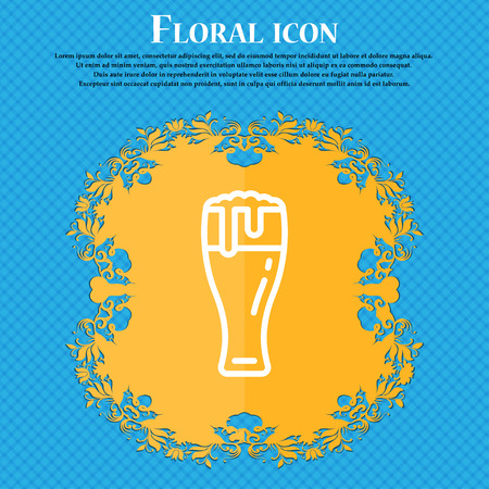 Beer glass icon sign. Floral flat design on a blue abstract background with place for your text. Vector illustration Illustration
