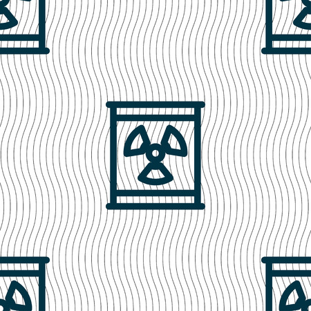 Radiation icon sign. Seamless pattern with geometric texture. Vector illustration Illustration