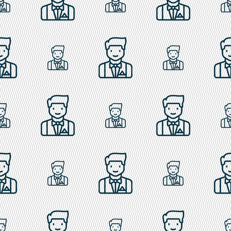 Butler icon sign. Seamless pattern with geometric texture. Vector illustration Illustration