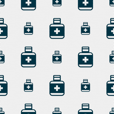 a tablet blister: Pill Icons sign. Seamless pattern with geometric texture. Vector illustration