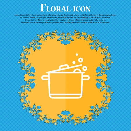 Pot Icon sign. Floral flat design on a blue abstract background with place for your text. Vector illustration