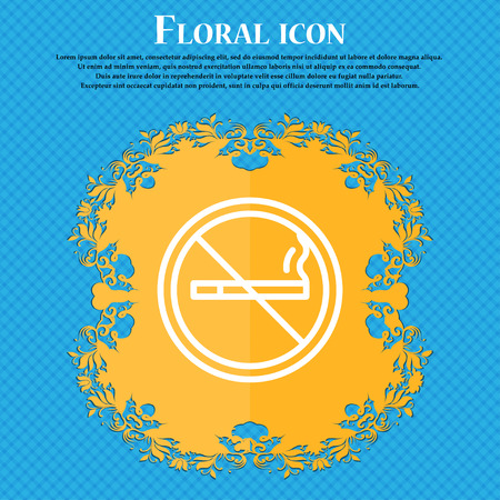 smoldering: No smoking icon sign. Floral flat design on a blue abstract background with place for your text. Vector illustration