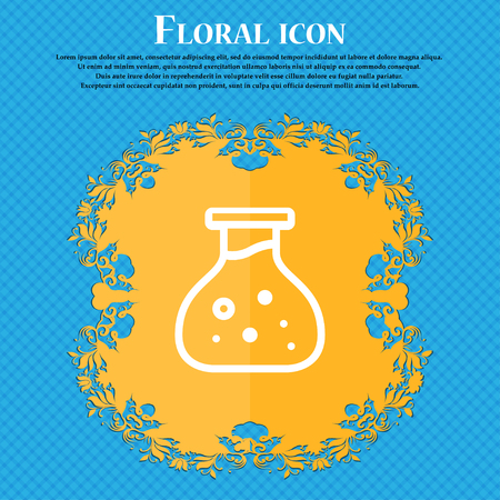Chemical Icon sign. Floral flat design on a blue abstract background with place for your text. Vector illustration