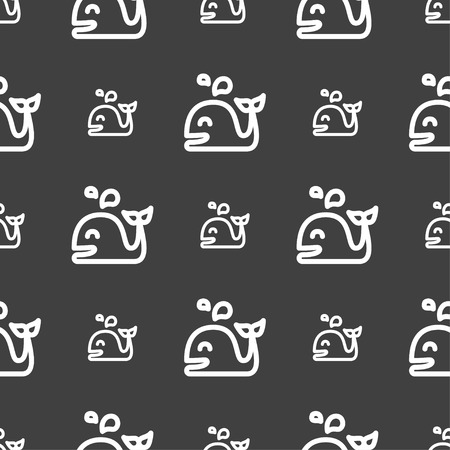 gray whale: Whale icon sign. Seamless pattern on a gray background. Vector illustration Illustration