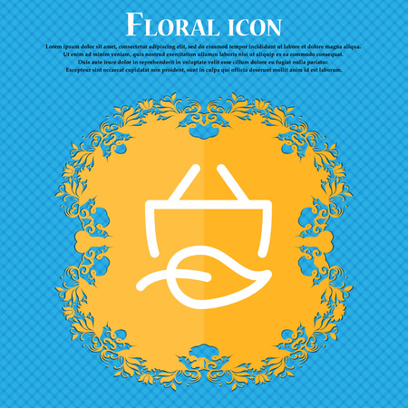 Shopping bag icon. sign. Floral flat design on a blue abstract background with place for your text. Vector illustration Illustration