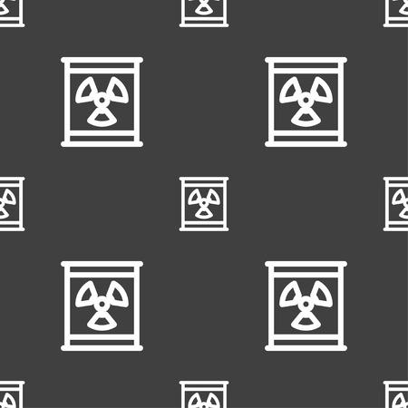 plutonium: Radiation icon sign. Seamless pattern on a gray background. Vector illustration Illustration