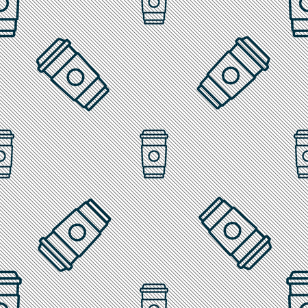 Coffee cup icon sign. Seamless pattern with geometric texture. Vector illustration