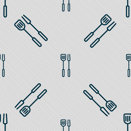 Kitchen utensils set icon sign. Seamless pattern with geometric texture. Vector illustration Illustration