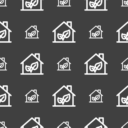 locality: BIO HOUSES ICON sign. Seamless pattern on a gray background. Vector illustration