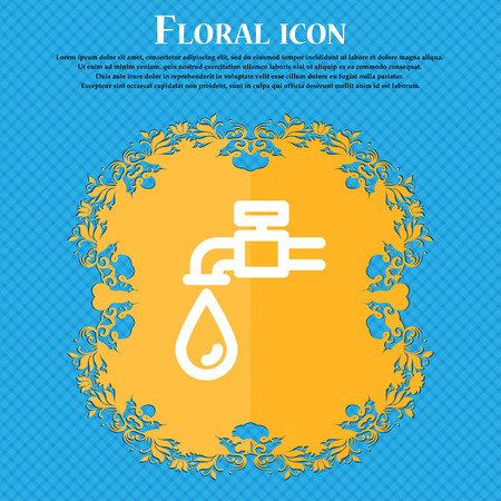 trickle: Water tap icon sign. Floral flat design on a blue abstract background with place for your text. Vector illustration Illustration