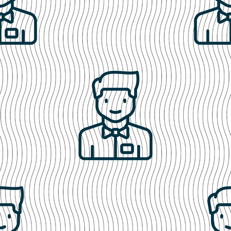 warm things: Waiter icon sign. Seamless pattern with geometric texture. Vector illustration