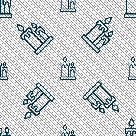 Bougie signe icône. Seamless texture géométrique. Vector illustration