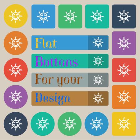 gelukkige zon teken pictogram. Set van twintig gekleurde platte, ronde, vierkante en rechthoekige knoppen. vector illustratie