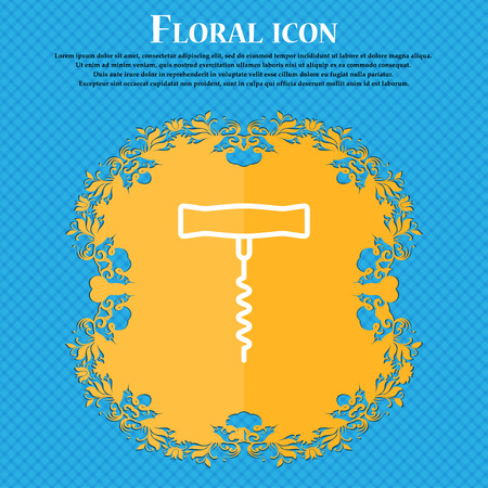 corkscrew icon sign. Floral flat design on a blue abstract background with place for your text. Vector illustration