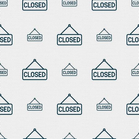 cerrar la puerta: icono de la muestra cerrado. Patrón sin fisuras con textura geométrica. ilustración vectorial