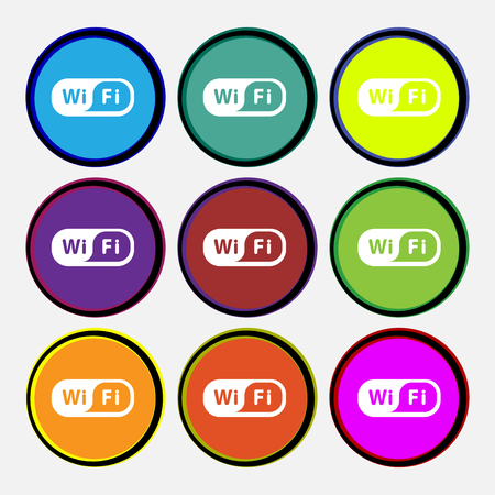 wimax: Wireless Network icon sign. Nine multi colored round buttons. Vector illustration