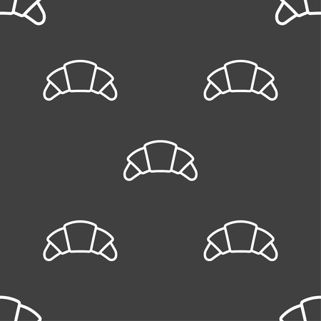 brittle: croissant bread icon sign. Seamless pattern on a gray background. Vector illustration