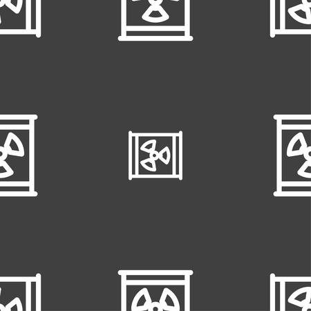 Radiation icon sign. Seamless pattern on a gray background. Vector illustration Illustration