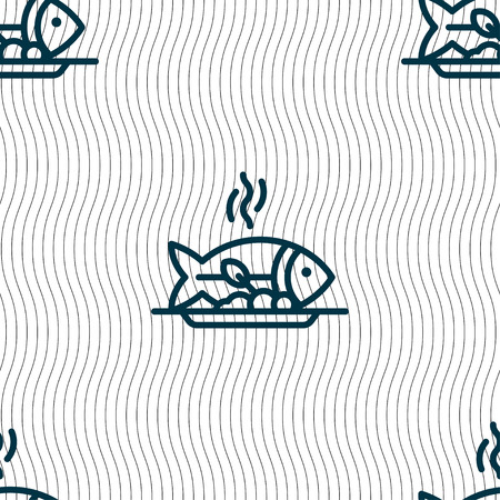 spit: Hot Fish grill icon sign. Seamless pattern with geometric texture. Vector illustration