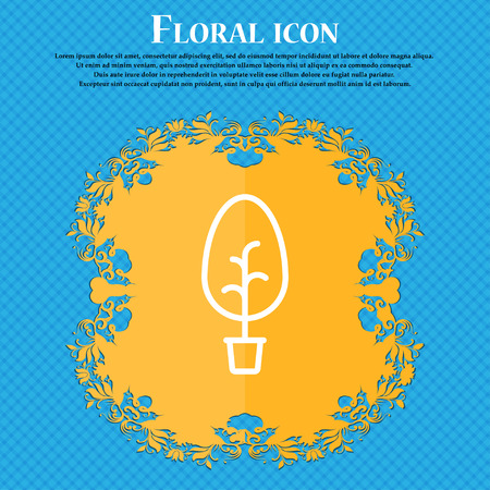 tree Icon sign. Floral flat design on a blue abstract background with place for your text. Vector illustration