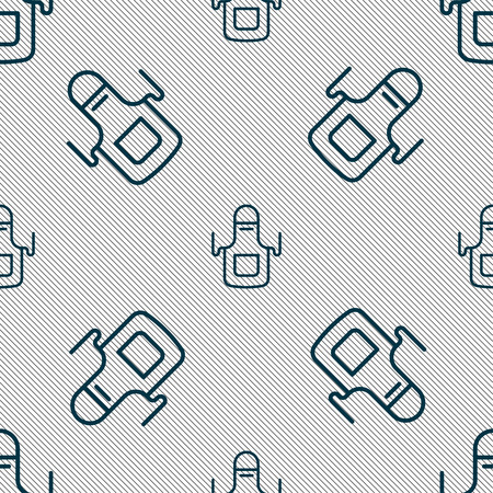 Kitchen apron icon sign. Seamless pattern with geometric texture. Vector illustration