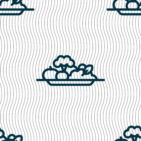 vegetables icon sign. Seamless pattern with geometric texture. Vector illustration Çizim
