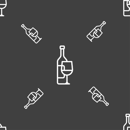 Wine bottle and wine glass icon sign. Seamless pattern on a gray background. Vector illustration