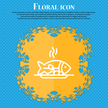 Hot Fish grill icon sign. Floral flat design on a blue abstract background with place for your text. Vector illustration Illustration