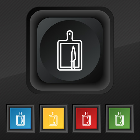 board and knife icon symbol. Set of five colorful, stylish buttons on black texture for your design. Vector illustration