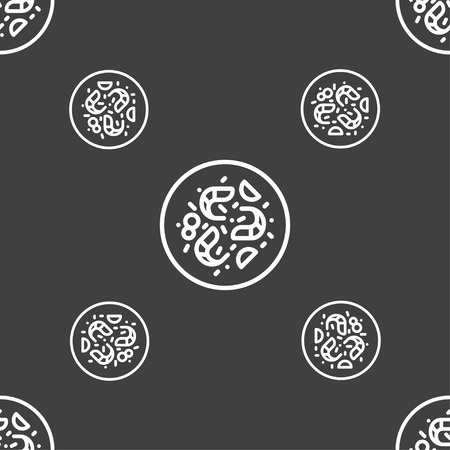 contaminant: bacteria icon sign. Seamless pattern on a gray background. Vector illustration