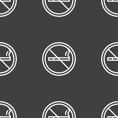 pernicious habit: No smoking icon sign. Seamless pattern on a gray background. Vector illustration