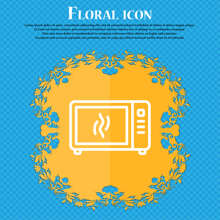 Microwave oven icon sign. Floral flat design on a blue abstract background with place for your text. Vector illustration
