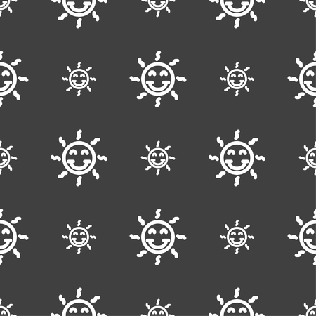 happy sun icon sign. Seamless pattern on a gray background. Vector illustration