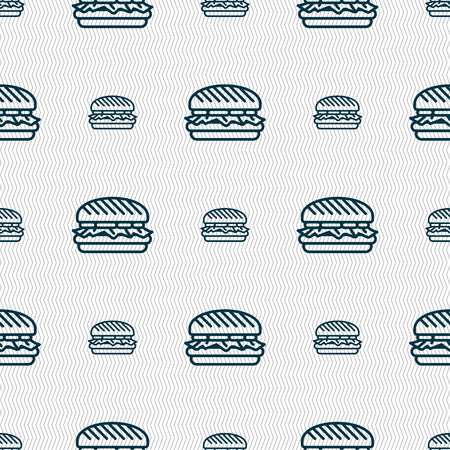 Burger icon sign. Seamless pattern with geometric texture. Vector illustration