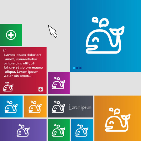cetaceans: Whale icon sign. buttons. Modern interface website buttons with cursor pointer. Vector illustration